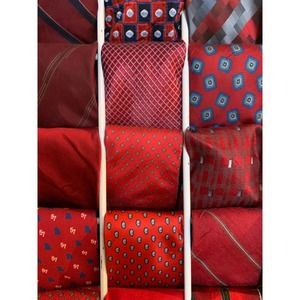 Mystery Box of 5 red silk polyester mens neck ties